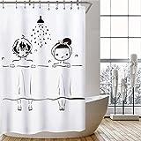 PXFCV Cartoon Duschpaar Weiß Duschvorhang 3D Wirkung Antibakterielle Kreative Badezimmer Dekoration Waschbar Wc Trennvorhang, 150 cm X 180 cm