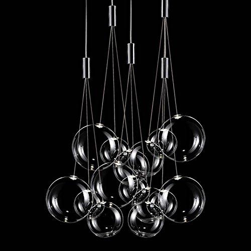 Studio Italia iluminación de Random en cromo transparente cristal   hecho a mano en Italia  –Lámpara de techo, diseño moderno