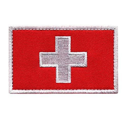 Schweiz Patch Flagge Klett - Swiss Klettabzeichen Flaggen Emblem Aufnäher mit Klettverschluss, Militär Aufkleber Klettbänder für Rucksäcke Custom Geschenke (8x5 cm)