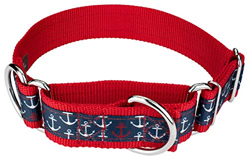 Country Brook Petz - Anchors Away Signature Martingale Dog Collar - Each Collar You Buy, a Collar is donated to a shelter (1 1/2 Inch, Medium)
