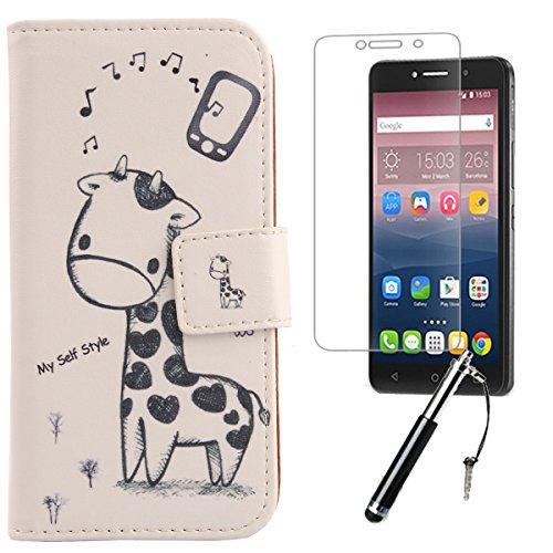 Lankashi Giraffe 3in1 PU Flip Leder Tasche Für Alcatel One Touch Pixi 4 6