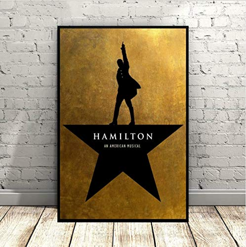 yhnjikl Hamilton An American Poster Musical Broadway Promocional Music Art Seda Poster Wall Pictures For Living Room Sin Marco 40X60Cm Sin Marco