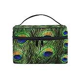 CPYang Bolsa de maquillaje de viaje, diseño de pluma de pavo real, portátil, organizador de cosméticos, bolsa de aseo para mujeres y niñas