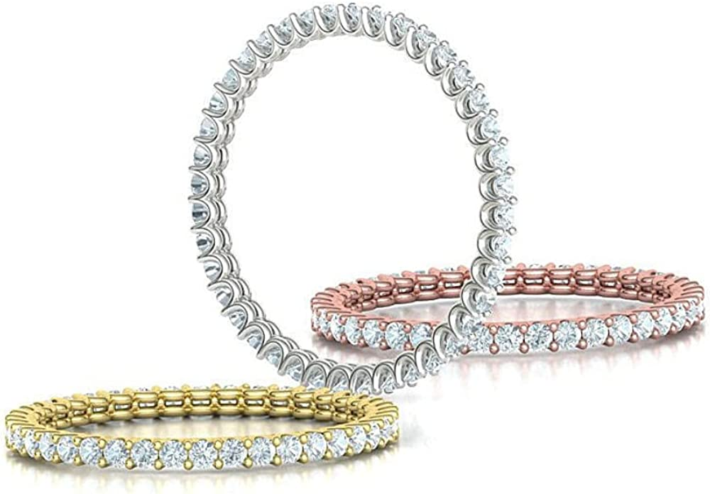 14K Gold Diamond Ladies Easy-to-use Eternity Stackable Ring ! Super beauty product restock quality top! Band Wedding