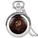 GIPOTIL Reloj de Bolsillo Emblema Vintage URSS Insignias soviéticas Martillo Hoz Retro Rusia Ejército CCCP Comunismo Collar Cadena de Reloj para Hombres Mujeres, Moda Plata