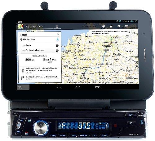 Creasono Autoradio mit USB: Autoradio CAS-4500tab mit Bluetooth & Tablet-Halterung bis 17,8cm / 7