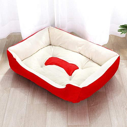 Cama para Perros de Felpa Suave y cálida Cama para Perros Cama para Dormir mullida sofá para Mascotas Perros pequeños y medianos de Varios tamaños -Rojo_70cm