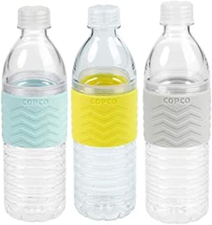 Copco Hydra Reusable Tritan Water Bottle Spill Resistant Lid Non-Slip Sleeve, 3 Pack