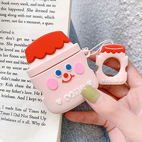 Find Bargain BONTOUJOUR AirPods Case, Super Cute Creative Smiling Face Yoghurt Bottle Shape TPU Sili...