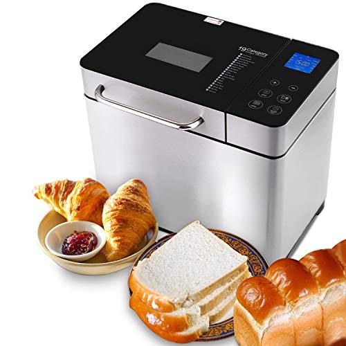 Hopekings Brotbackautomat Edelstahl Brotbackmaschine 19 Backprogramme Vollautomatische für 500g, 750g, 1000g 15-stündiger Verzögerungstimer Sichtfenster Warmhaltefunktion 710W