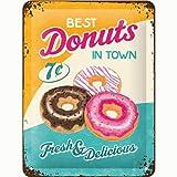 Nostalgic-Art - Placa metálica Decorativa, diseño Retro de Donuts