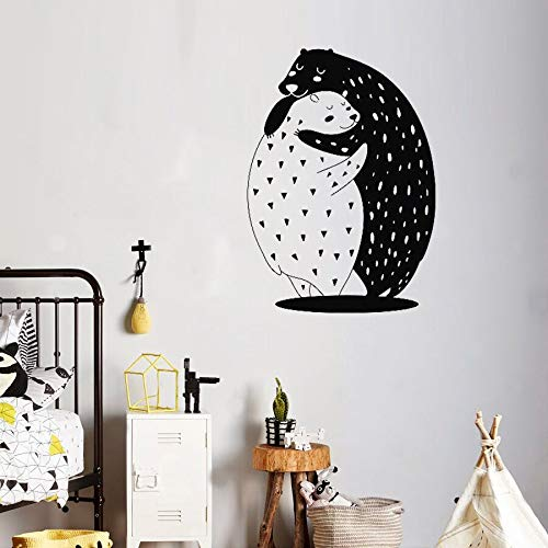 BailongXiao Zwei niedliche Bär Wandaufkleber für Baby Kindergarten entfernbare Vinyl Kinderzimmer Dekoration Aufkleber Wald Wandkunst Aufkleber Tier Wandbild 75x106cm