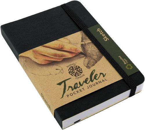 "Pentalic 016162-1 Traveler Pocket Journal Sketch, 6"" x 4"", Black"