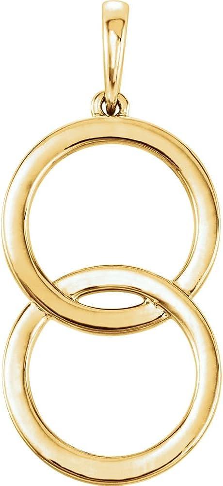 14K Yellow Gold Pendant Excellence Circle Interlocking Direct store