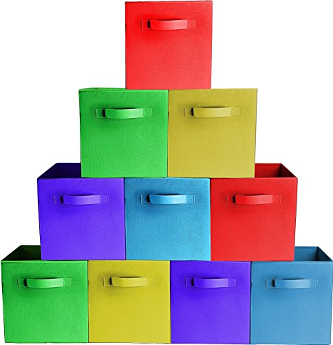 10-PackAssorted Colors Durable Storage Bins Containers Boxes Tote Baskets Collapsible Storage Cubes for Household Organization  Fabric Cardboard Dual Handle  Foldable Shelves Storages