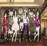 Rureng Papel Tapiz Fotográfico Personajes De Dibujos Animados De Ladrillos Estéreo 3D Papel Tapiz De Internet Cafe Tienda De Ropa Herramientas Fondo Mural-400X280Cm