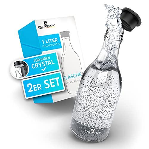 LICHTENWERK® 2X Premium Glasflasche 1L kompatibel mit Sodastream Crystal 2.0 [33% MEHR SPRUDEL] - Edle Glaskaraffe mit mehr Volumen - Trinkflasche Sprudeln - Kohlensäure geeignet - Spülmaschinenfest