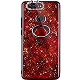 Jinghuash Kompatibel mit Huawei Nova 2 Plus Hülle Silikon mit 360 Grad R&e Ring Ständer Glänzend Kristall Glitzer Diamant Strass Superdünn Weiche TPU Silikon Handyhülle Schutzhülle-Rot
