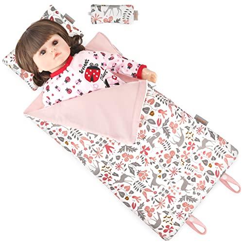 GAGAKU Puppenschlafsack Baumwolle mit Puppen Kopfkissen und Schlafmaske für 38 43 45 46 cm Babypuppen Stofftiere Puppen Bettzeug Zubehör für Puppenmamas Puppenpapas - Rosa Hirsch