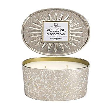 Voluspa Blond Tabac 2 Wick Candle In Decor Oval Tin 12 oz