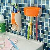 Ndier Dispensador automático de pasta de dientes + soporte de cepillo de dientes Set Familia Set de montaje en pared Rack Baño Oral