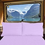 RV Short King 72' X 75' Striped Sheet Set 400 Thread-Count 100% Egyptian Cotton Made for RV, Camper, Boat & Motorhomes, Soft-Luxury-Breathable 15-Inch Deep Pockets 4-PC RV-Sheets - Lilac Stripe