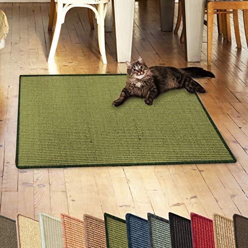casa pura Sisalteppich Natural Line | ideal als Kratzmatte für Katzen | schadstofffrei & widerstandsfähig | Sisal Kratzteppich in vielen Farben und Größen (Grün, 60x80 cm)