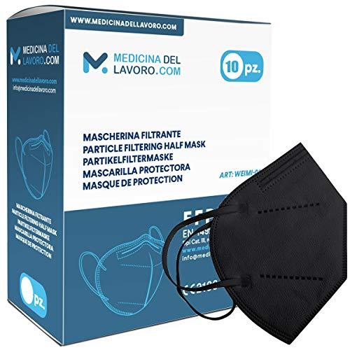 10 FFP2/KN95 Maske Bunt Schwarz CE Zertifiziert, Medizinische Mask mit 4 Lagige Masken ohne Ventil, Staub- und Partikelschutzmaske, Atemschutzmaske mit Hoher BFE-Filtereffizienz≥ 95 - 10 Stück