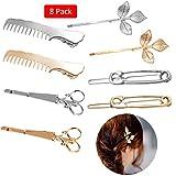 Amycute 8 pcs Pinza de Pelo Creativa, Peine, Tijeras y Hojas Horquillas de Metal para novia mujeres y niñas accesorios para el pelo para bodas y fiestas