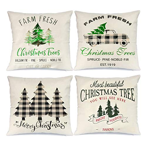 Innge Christmas Pillow Covers 18 x 18 Inch Set of 4 Winter Holiday Farmhouse Christmas Decorations Throw Pillow Cases Buffalo Plaid Pillow Square Cushion Cover for Sofa,Couch