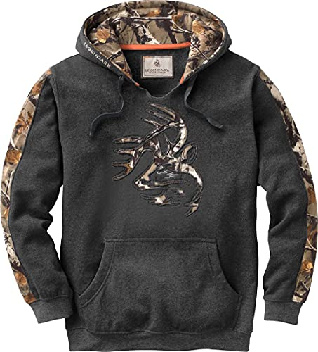 Legendary Whitetails Men's Standard Camo Outfitter Hoodie, Charcoal Heather, XX-Large