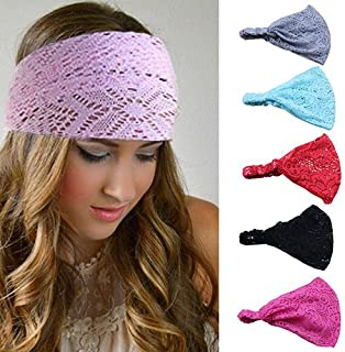 Bodermincer 8 Colors/set Women Girl Bandanas Lace Flower Beach Headband Hair Band Chic Wide Headwraps Accessories Hot Sale (8 Colors/set)