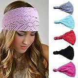 Bodermincer 8 Colors/set Women Girl Bandanas Lace Flower Beach Headband Hair Band Chic Wide Headwraps Accessories Hot Sale (8 Colors/set)