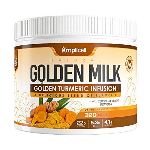 Natural Golden Milk - 320g Golden Milk Powder - Organic Turmeric Powder w/ Ashwagandha Powder - Turmeric Ashwagandha Organic Superfood Blend w/ Ginger Root & Mushroom Powder Super Food - 30 Day Supply