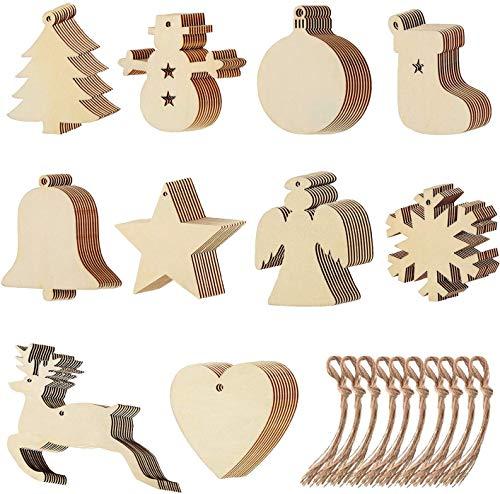 baratos y buenos 100 adornos navideños de 100 árboles colgados de virutas de madera, 100 hechos a mano… calidad