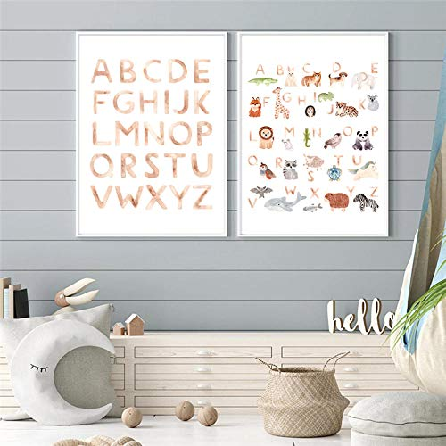 QZROOM Watercolor Animal Alphabet Wall Art Posters Cartoon A to Z Cliparts Canvas Paintings For Baby Child Room Decor-42x60cmx2Pcs-No Frame