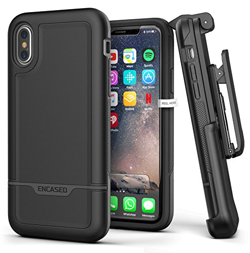 Encased Heavy Duty iPhone Xs Case Belt Clip Holster Black Protective Hybrid Cover (Rebel Armor) Designed for Apple iPhone X/iPhone Xs (5.8')