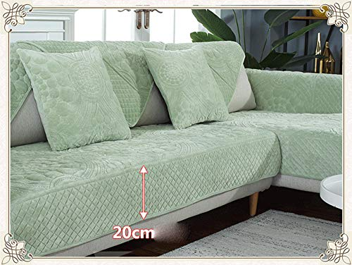 Ginsenget Funda sofá 1 2 3 4 plazas sin reposabrazos sofá Cama Daybed Slipcover Color Liso,Funda de sofá Bordada,Verde Claro,90X120cm