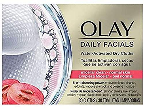 Olay Daily Facials Toallitas Secas Activadas con Agua, Limpieza Micelar, Piel normal, Poder de limpieza 5 en 1, 30 Toallitas