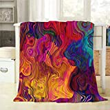 Mugod Colorful Chaotic Waves Throw Blanket Purple Fuchsia Pink Red Orange Gold Blue Rainbow Pattern Decorative Soft Warm Cozy Flannel Plush Throws Blankets for Bedding Sofa Couch 60 X 80 Inch