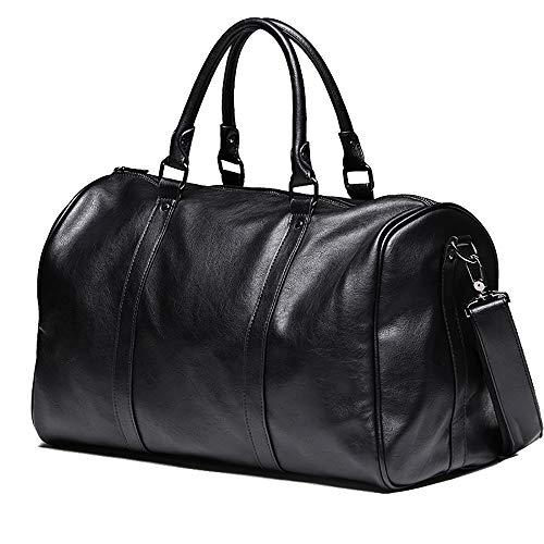 BAACD Bolsa de viaje hombres y mujeres Bolsa de equipaje negra Bolsa de cuero grande de fin de semana Impermeable Ligero de negocios Regalo de Navidad de cumpleaños para hombres-black