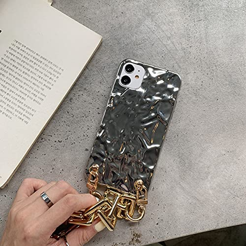 DEIOKL Fundas para teléfono con Brazalete Dorado iPhone 11 Pro MAX X XS XR 7 8 Plus SE 2020 Carcasa Trasera Suave con Cadena, Plateada, para iPhone 11