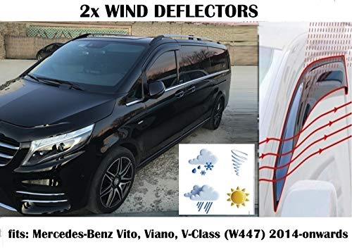 Mrp Windabweiser, kompatibel mit Mercedes Benz Vito Viano V-Klasse W447 W447 Mercedes W447 Windabweiser (2014 2015 2016 2017 2018 2019 202020) Acrylglas Seitenblenden PMMA Fensterabweiser