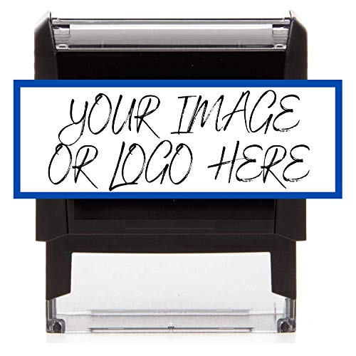 Rectangle Logo Stamp - Custom Stamp - Personalized Business Stamp Self-Inking Black Red Blue Black Ink - Custom Text Business Stamp Large 64 x 26 mm Stamper