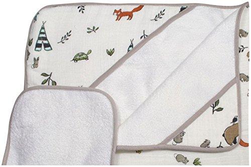 Little Unicorn - Cape de bain & Gant de toilette coton - Forest Friends Set, 1 pack