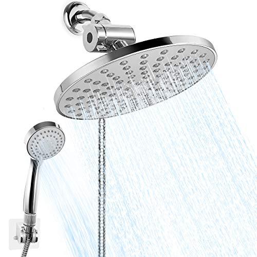 HUOSUC Shower Head, High Pressure 8'' Rainfall Shower Head/Handheld Combo with 60 Inch Hose, Anti-leak Shower Head with 3 Channels Water Diverter, Holder, Flow Regulator, Chrome