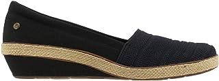 حذاء نسائي من Grasshoppers بكعب عريض من القماش الكتاني ، أسود، 6 عرض الولايات المتحدة