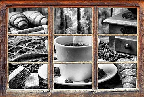 Stil.Zeit Monocrome, heißer aufgebrühter Kaffee Fenster im 3D-Look, Wand- oder Türaufkleber Format: 62x42cm, Wandsticker, Wandtattoo, Wanddekoration