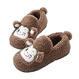JadeRich Women's Cute Monkey Cartoon Shoes Soft Plush Winter Indoor Slippers
