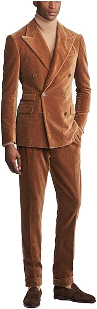 Men's Corduroy Suit 2 Piece Double Breasted Notched Lapel Customized Blazer and Pants